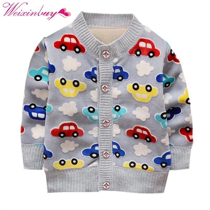 WEIXINBUY Winter Baby Boy Coats Warm Clothes Cartoon Car Pattern Button Cashmere Knitting Clothing warmth cartoon penguin pattern knitting mermaid blanket