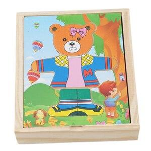 Image 5 - Juego de puzle de madera para bebés, juguetes rompecabezas educativos para niños, oso de juguete de madera, ropa cambiante