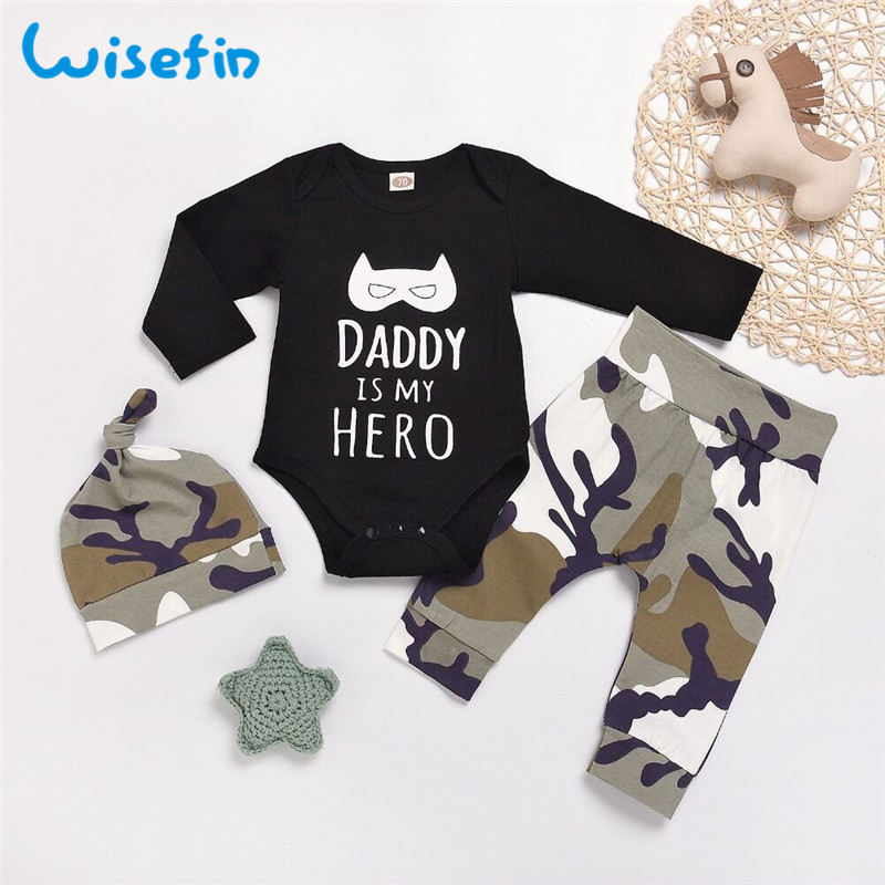 Wisefin Infant Boy Full Outfits Camo Newborn Clothing Set For Boy Daddy Long Sleeve Autumn Toddler Baby Boy Clothes With Hat