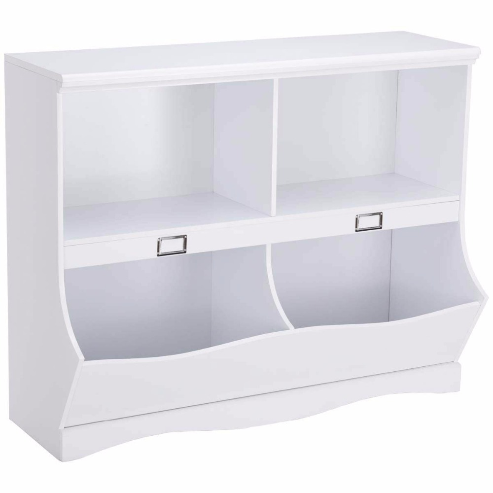 Giantex Children Storage Unit Kids Bookshelf Bookcase White Baby Toy Organizer Shelf Modern Furniture HW57075 In Cabinets From On