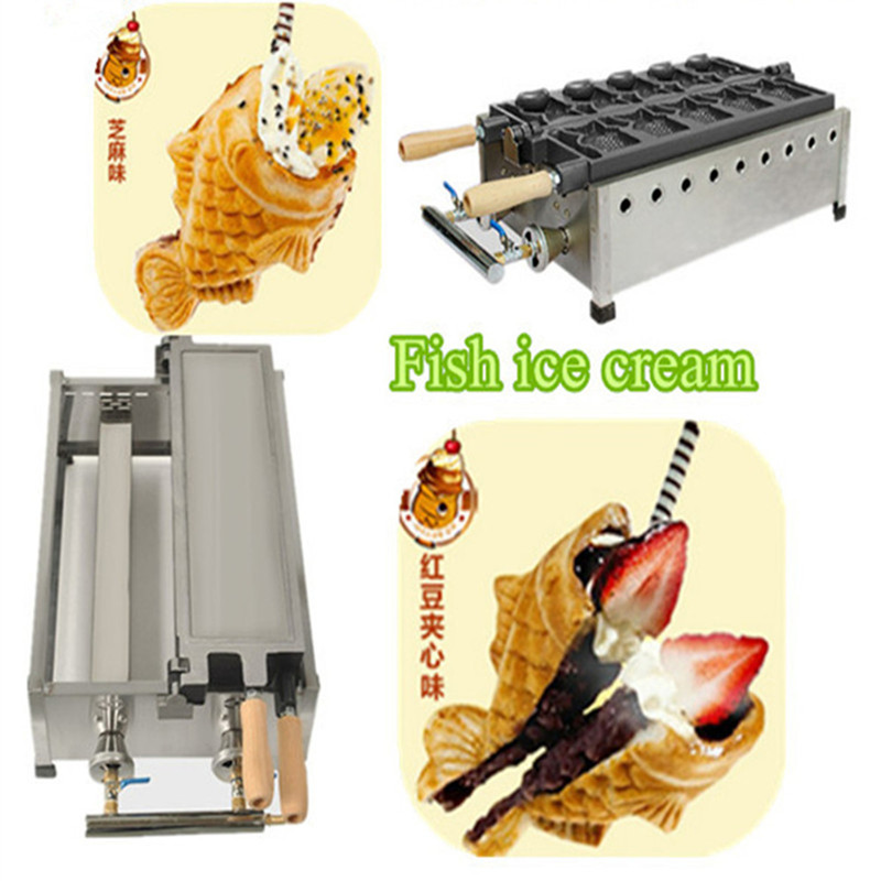 High quality gas type soft icecream taiyaki fish shape waffle maker 5 pcs open-mouth korean ice cream fish cake machine taiyaki fish maffle maker waffle ice cream machine