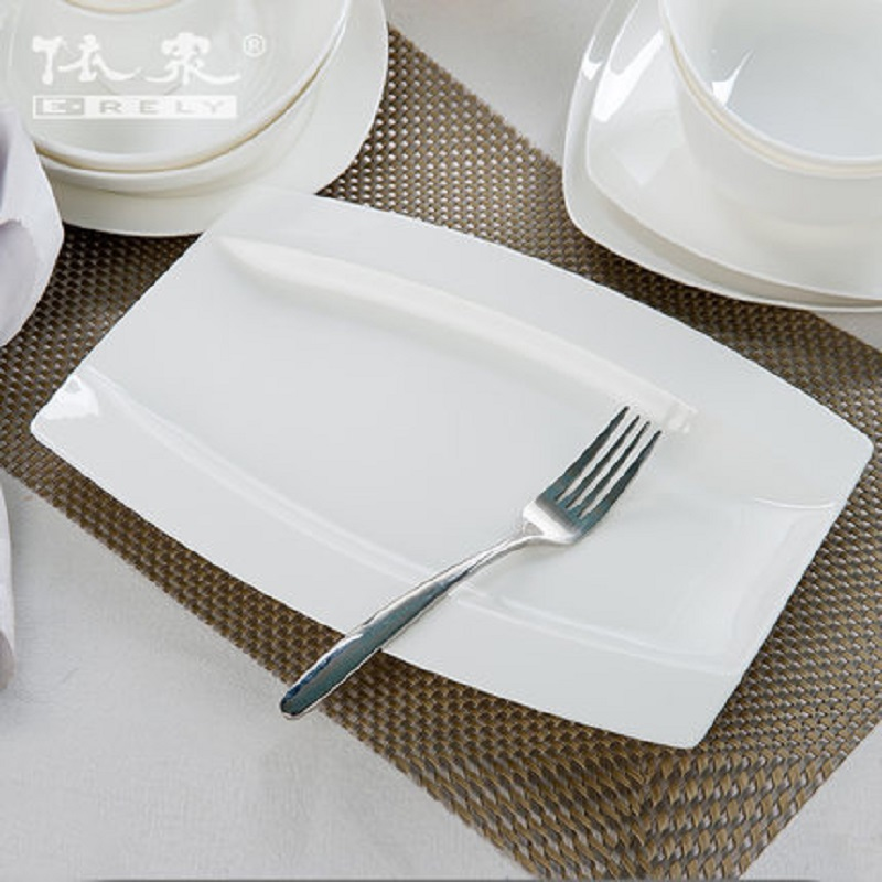 Tangshan Guci Pure White Bone Porcelain Tableware Set Bowl Plate Household Plate Bowl Plate Set Combination of Chinese Ceramics in Dinnerware Sets from Home Garden