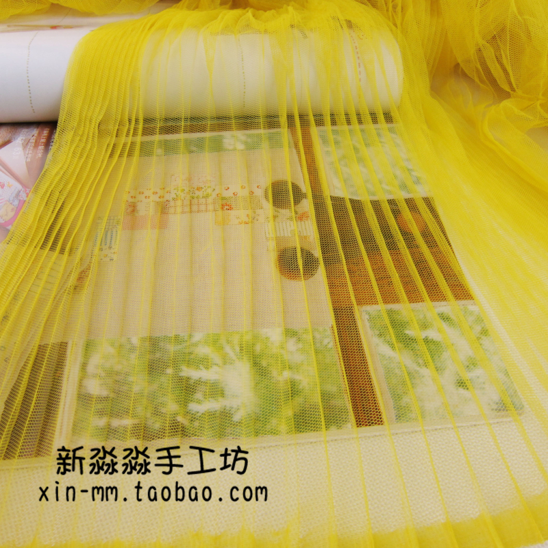 10Metres 150cm Width Evening Gowns Pleated Crushed Mesh Fabric Yellow Crumpled Tulle Net Fabric For Organ