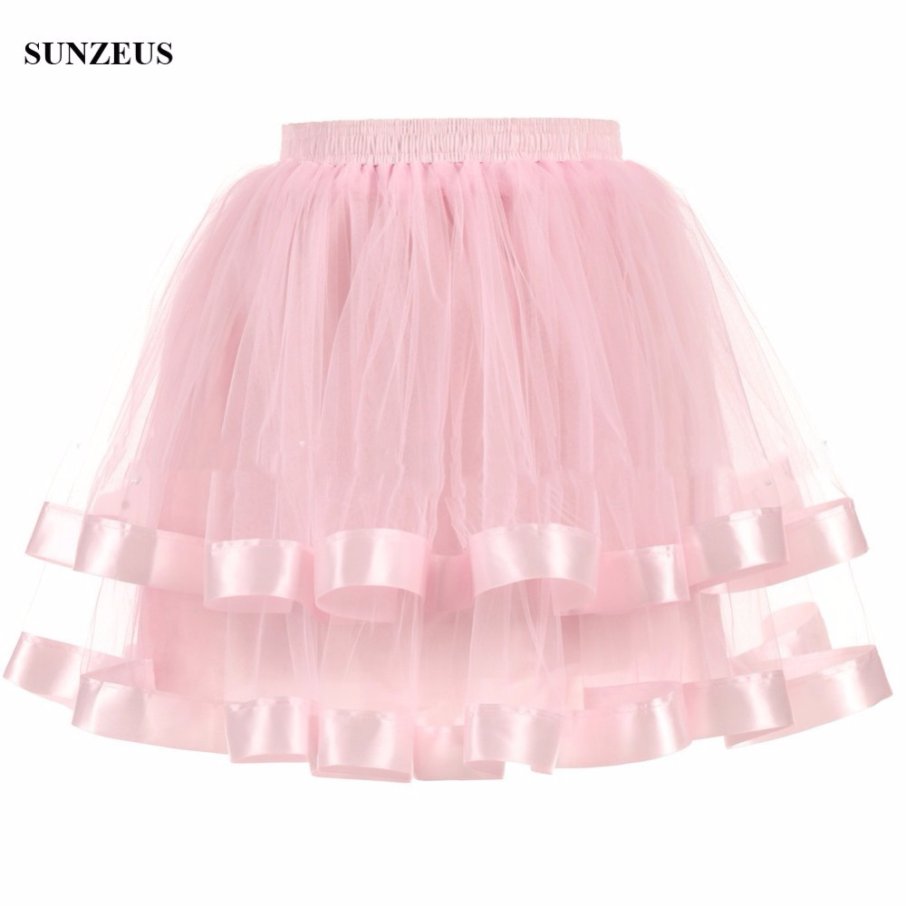 Short Petticoats For Party Evening Underskirt Two Layers Tulle Skirts With Ribbon Edge Crinoline Adult
