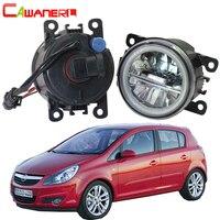 Cawanerl 2 X Car LED Bulb Fog Light + Angel Eye DRL 12V For Opel Corsa D Hatchback 2007 2008 2009 2010 2011 2012 2013 2014 2015