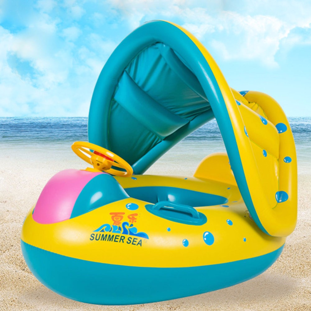 Baby Swimming Ring Safety Inflatable Circle Swim Float Adjustable Sunshade Seat Boat summer 2018 Kids Water Sport Fun Pool Toys