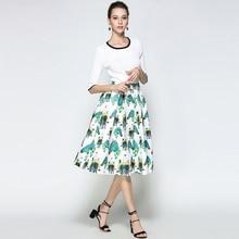 Willstage White Horse Printed Midi Skirts Women Elegant Retro Vintage Tutu Skirt fashion ball gown High Waist 2018 Summer Spring