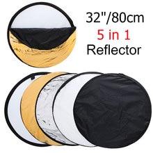 """32 """"80 cm 5 en 1 Nuevo Ligero Plegable Fotografía Portable Ronda/Foto Reflector para Estudio"""