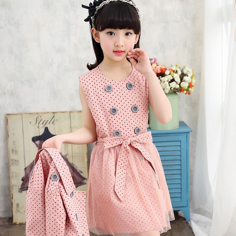 Girls Spring Suit New Korean Dress Jacket Two Pieces Sets Children's Leisure Kids Clothing Suit 4 Colour 2017 new fashion spring autumn girls two pieces suit children coat princess dress suit korean leisure sweet kids clothes dc129