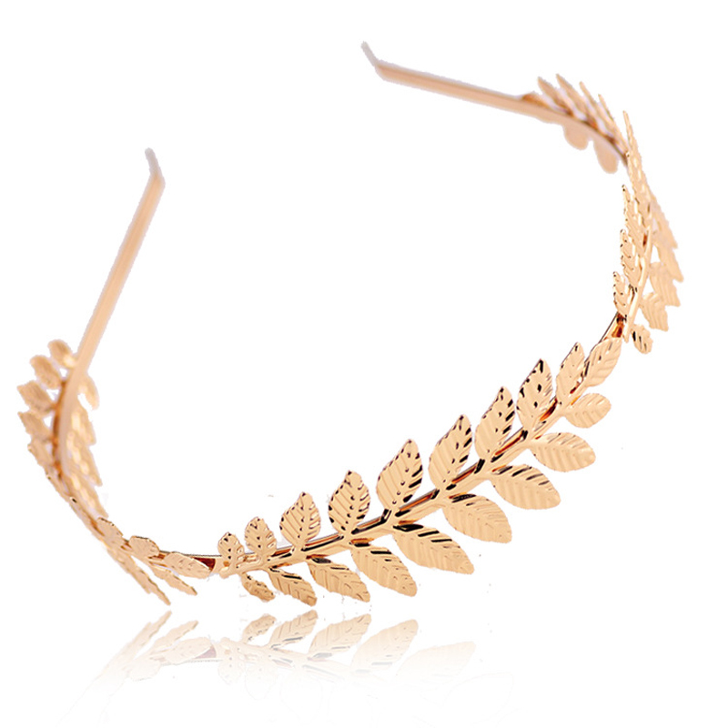 LNRRABC Fashion Women Elegant Baroque Style Metal Leaves Headband Bridal Charm Hair accessories Hairband 5