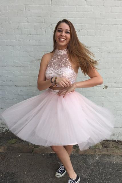 f2d3b59e228 2016 Light Pink 2 Piece Short Prom Cocktail Dresses Knee Length High Neck Juniors  Cocktail Party Dresses Robe De Cocktail