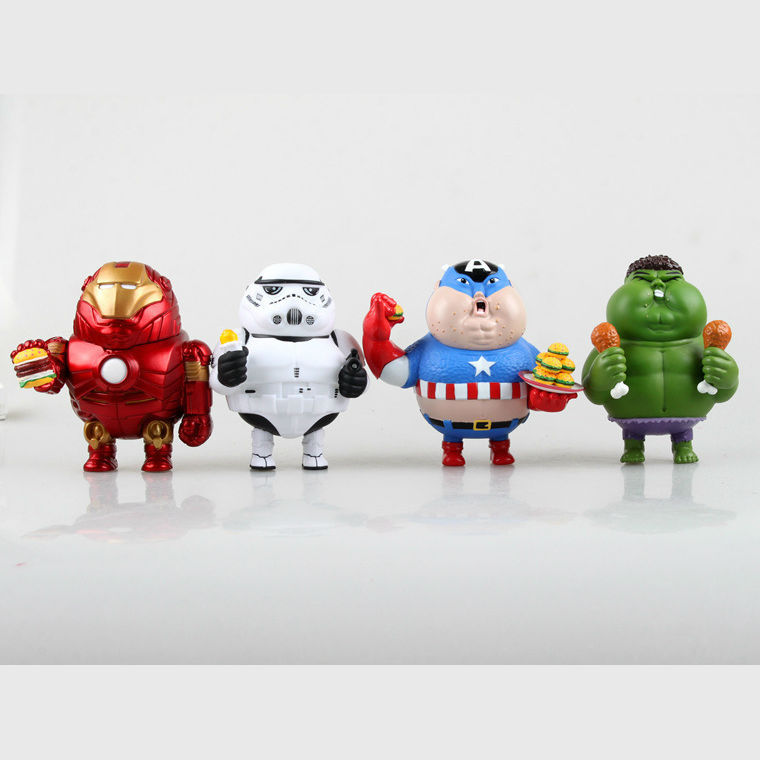 ФОТО 8cm the Fatty Captain America Iron Man Green Guy Collection Model PVC Cartoon comics Action  Figures  High Quality Toy for Kids