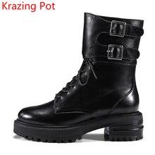 Новое прибытие Зимняя обувь из натуральной кожи в ковбойском стиле Кружева до толстый каблук Пряжка мотоботы круглый носок Для женщин до середины икры Ботинки L41