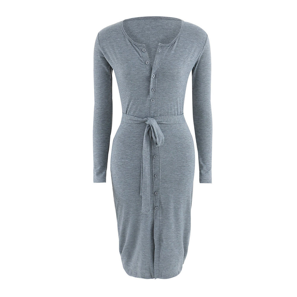 Sexy Women Long Sleeve Knee-length Dress Casual Bodycon Solid Slim Fit Pencil Dresses with Belt -MX8