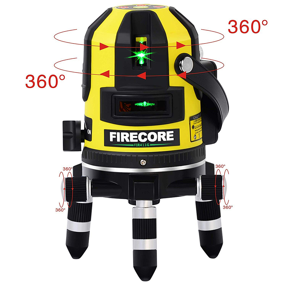 Green Firecore FIR411G Self-Leveling 50m Outdoor 5 Line Laser Level and Plumb Point with Detector