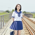 2017 new school lovely girl uniform set Women student sailor suit table costume japanese style gir cottonl Sets