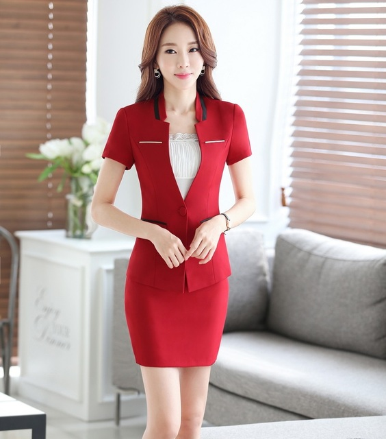 Novidade Red Profissional Formal Estilos OL Senhoras Trabalho Ternos Blazers Jaquetas E Mini Saia Feminina Roupas Plus Size 4XL