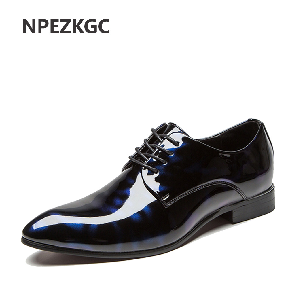 NPEZKGC Big Size 38-48 Men Shoes PU Leather Casual Shoes Fashion Lace Up Oxfrds Shoes Breathable Patent Leather Men Flat Shoes karlsson часы slim index black