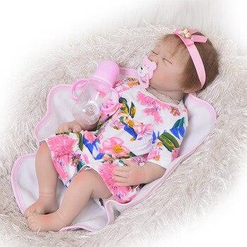 55cm 22inch reborn girl doll reborn for children lifelike real touch bonecas reborn silicone inteiro sleeping bedtime toys