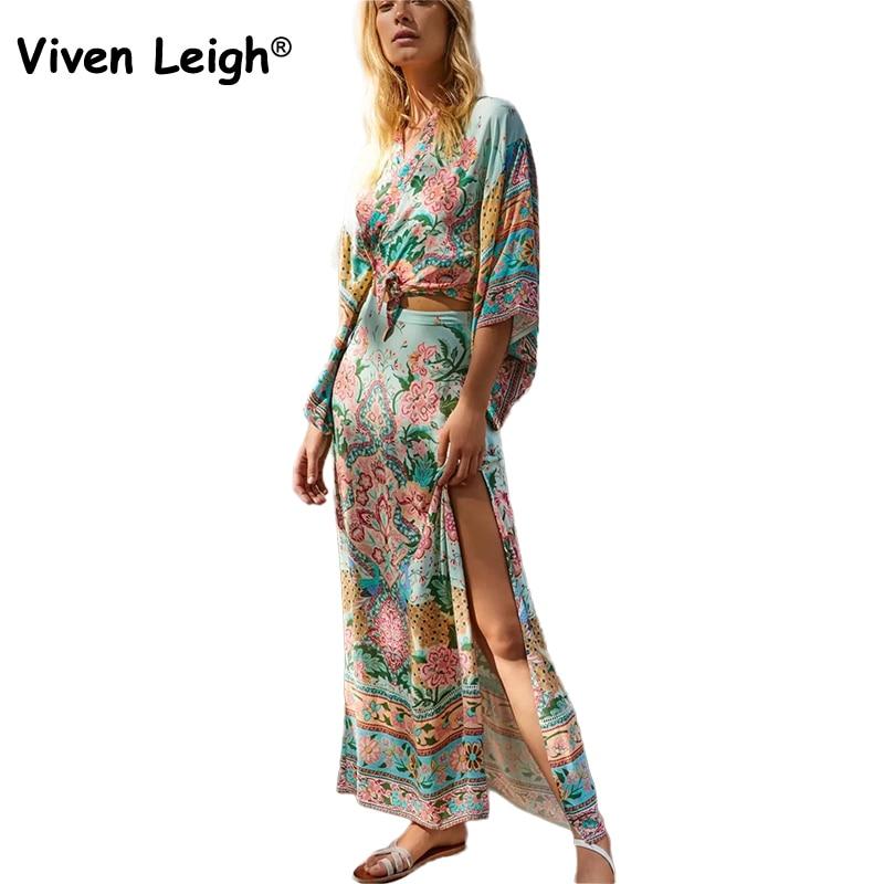 87bb591f7 Viven Leigh Boho inspirado manga Kimono Top blusa Maxi faldas largas ...