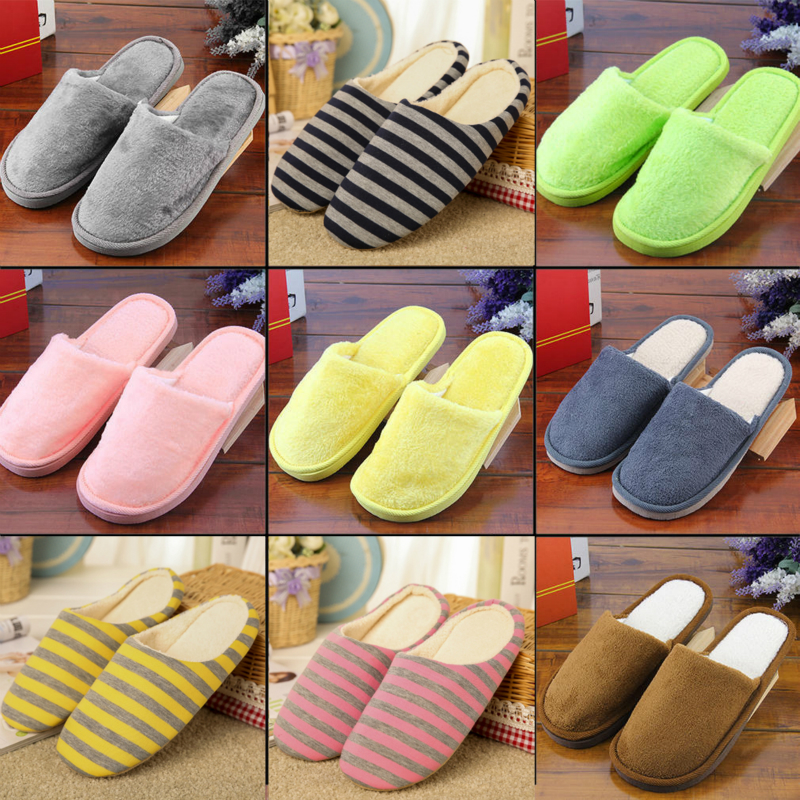 FMZXG Men Casual Sneakers For Home Slippers Winter Striped Soft Floor Man Indoor Flats Shoes Warm Plush Cotton Slipper Terlik