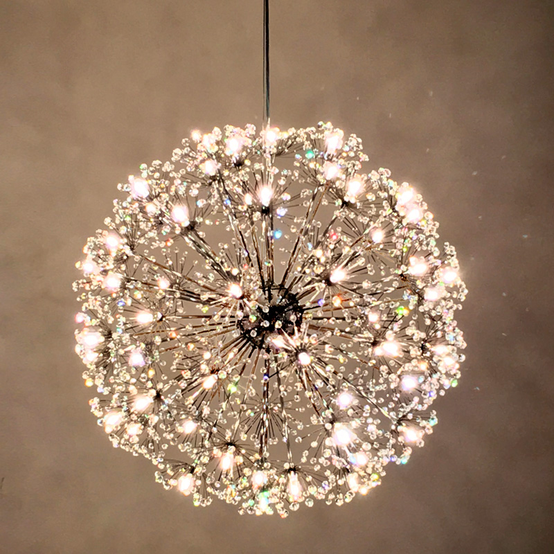 Norbic modern brief K9 crystal flower pendant light fixture home deco dining room chrome iron spark ball G4 LED pendant lamp леска salmo team fluorocarbon ice soft 030 037 ts5024 037