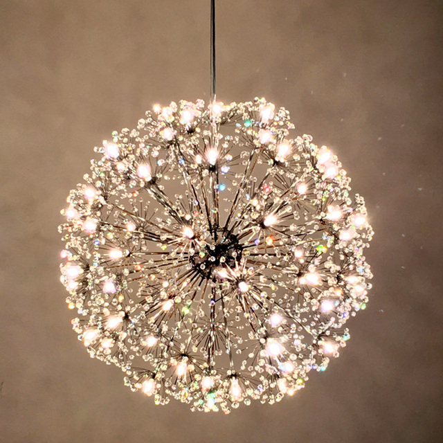 Norbic Modern Brief K9 Crystal Flower Pendant Light Fixture Home Deco Dining Room Chrome Iron Spark