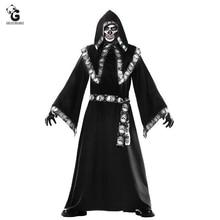 Wizard Costume Halloween Costumes for Women Men Monk Cloak Robe Dress Horror Skeleton Zombie Fancy