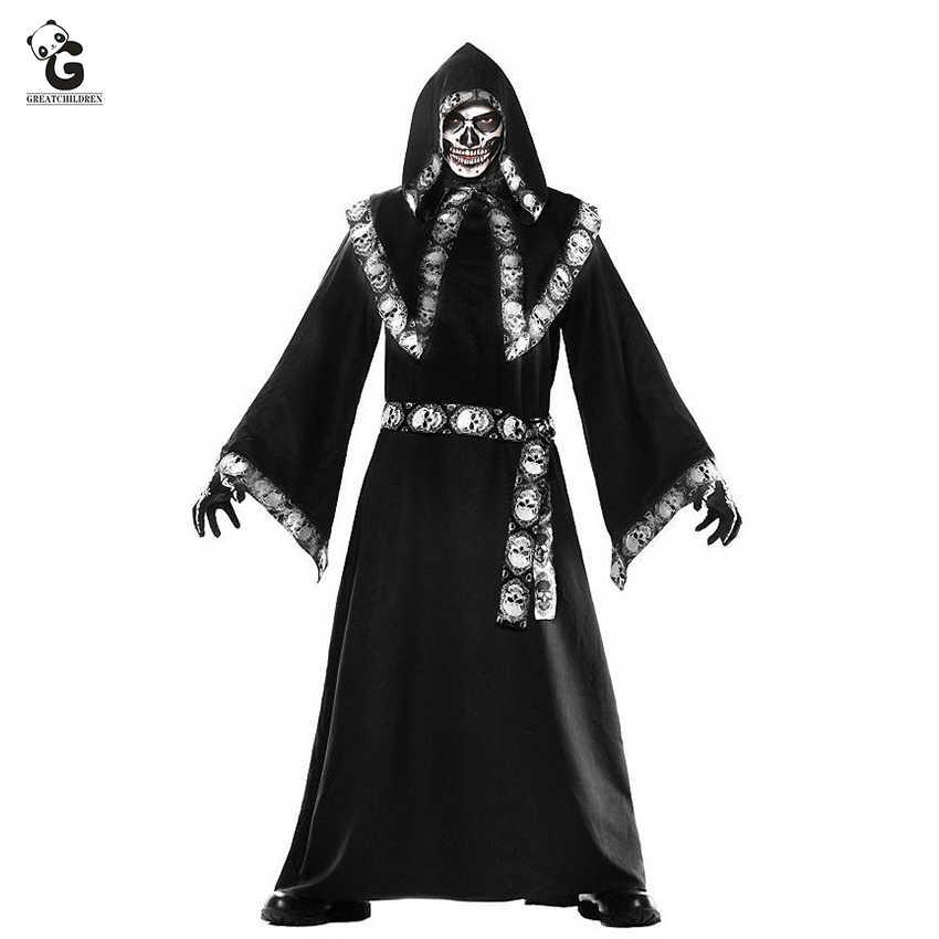 Wizard Horror Grim Reaper Traje Feminino Men Monge Manto Manto Sacerdote Vestido De Bruxa Esqueleto Zumbi Dia Das Bruxas Purim Festa Fantasia Fantasias De Filme Tv Aliexpress
