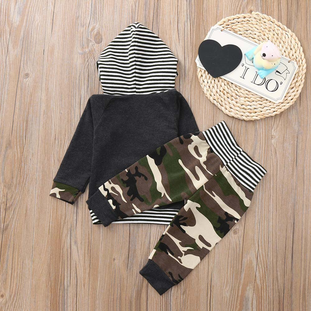 1362f758ae316 MUQGEW Hot sale Newborn Infant Baby Boy Camouflage Hoodie Striped T shirt Tops  Pants Set Clothes Dropshipping Baby Clothes -in Clothing Sets from Mother  ...
