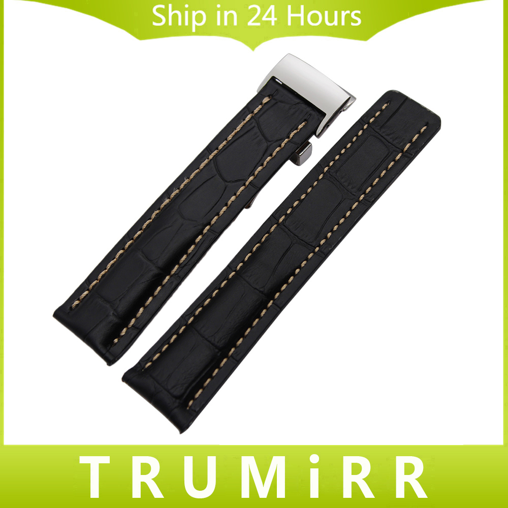 Genuine Leather Watchband 22mm 24mm for Avenger Chronomat Transocean Galatic Watch Band Steel Butterfly Clasp Wrist Strap Black curved end genuine leather watchband for tissot 1853 watch band butterfly clasp strap wrist bracelet black brown 22mm 23mm 24mm