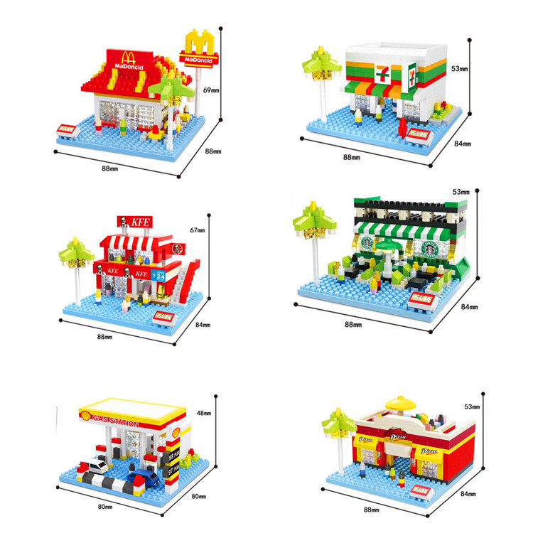 City Scene Mini Building Blocks DIY Building Toys Architecture Nanoblocks Brinquedos Anime Juguetes Kids Educational Toy Gift loz mini diamond block world famous architecture financial center swfc shangha china city nanoblock model brick educational toys