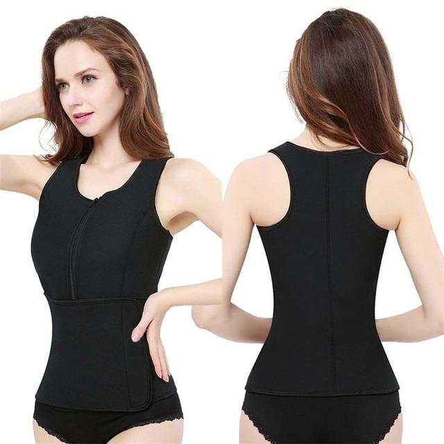 Women Sauna Waist Trainer Vest Gym Adjustable Slimming Sweat Belt Workout Zipper Body Shaper Sexy Shaper Workout Vest 2019 New 4