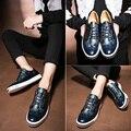 Estilo británico Con Cordones de Los Hombres Ocasionales Brogue Zapatos De Cuero Para Hombre azul Punta Redonda De Oro Vestido Del Banquete de Boda de Negocios Oxfords Pisos masculino