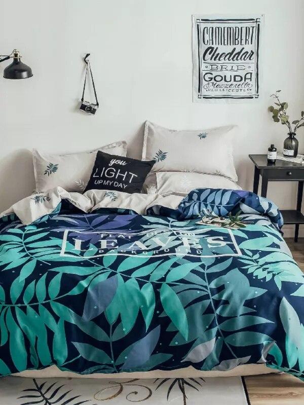 Feuilles vertes housse de couette ensembles de literie pour adultes rose solide lit plat drap doux luxe literie