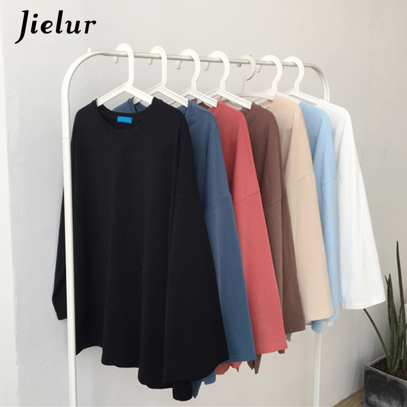Jielur 7 Solid Color High Quality Harajuku T Shirt Women Flare Sleeve Basic Korean Top Femme Long White Tshirt Feminina