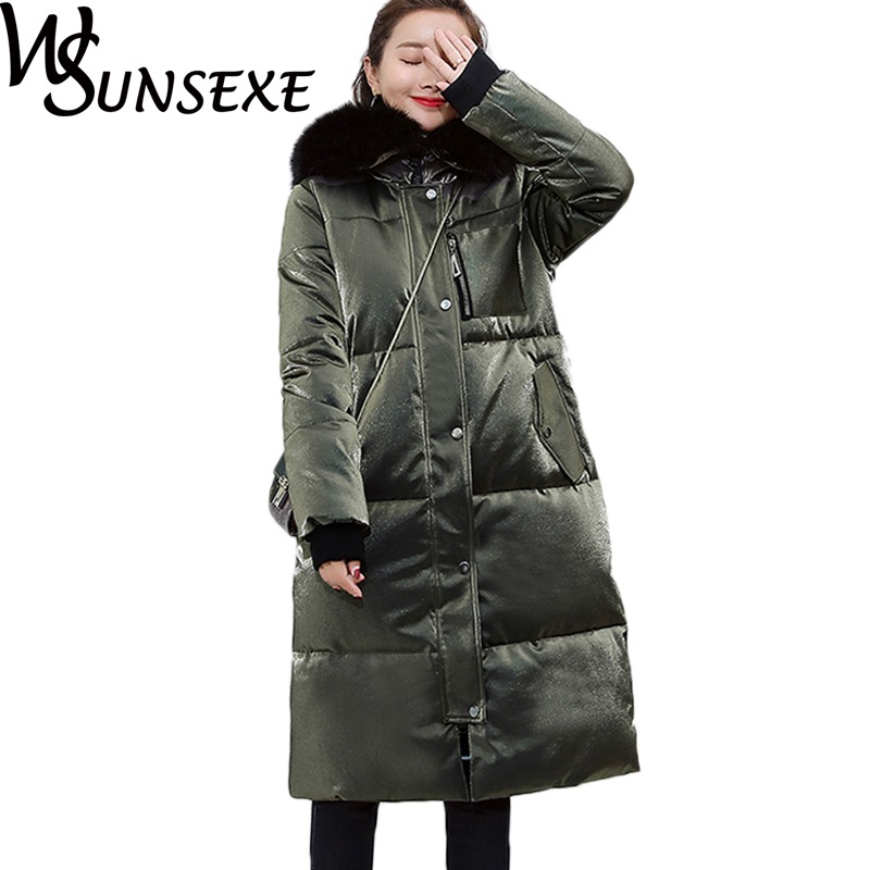 Winter Jacket Women Shiny Cotton Down Faux Fur Hooded Coat 2017 New Autumn Warm Thicken Outwear Fashion Bright Streetwear Parkas стол письменный мастер милан 8я левый дуб молочный мст сдм 8я дм 16