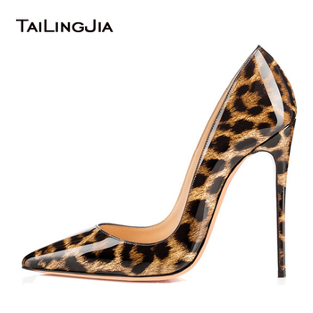 Leopard High Heels Women Pointed Toe Heeled Basic Pumps 2019 Ladies Sexy Stiletto Party Evening Shoes Woman Footwear Large Size