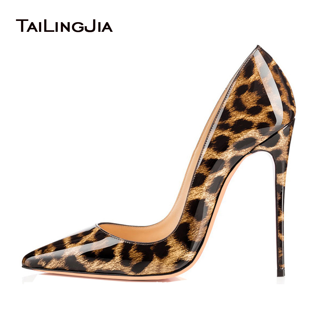 цены Sexy Women Patent Leather High Heels 2017 Shiny Leopard Pointy Evening Dress Pumps Stiletto Ladies Party Shoes Plus Size