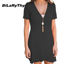 BiLaRyThy Casual Women Clothes V Neck Short Sleeve Mini Dress Solid Summer Short Dresses Size S M L XL