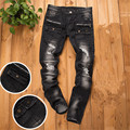 High Quality Mens Biker Jeans with zipper,Black Slim Fit Motorcycle Jeans Men Vintage Denim Jeans Pants,Ripped jeans for men