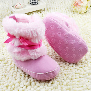 Stylish Princess Baby Girls Bowknot Snow Warm Boots Soft Crib Shoes Toddler Fleece Boots