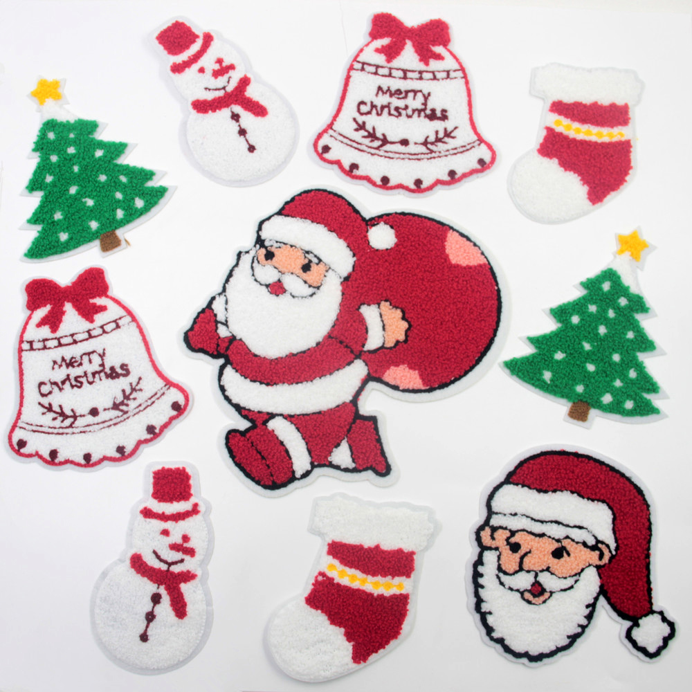 Christmas Tree Patch: Christmas Tree, Stocking,Bell And Santa Claus Patch For