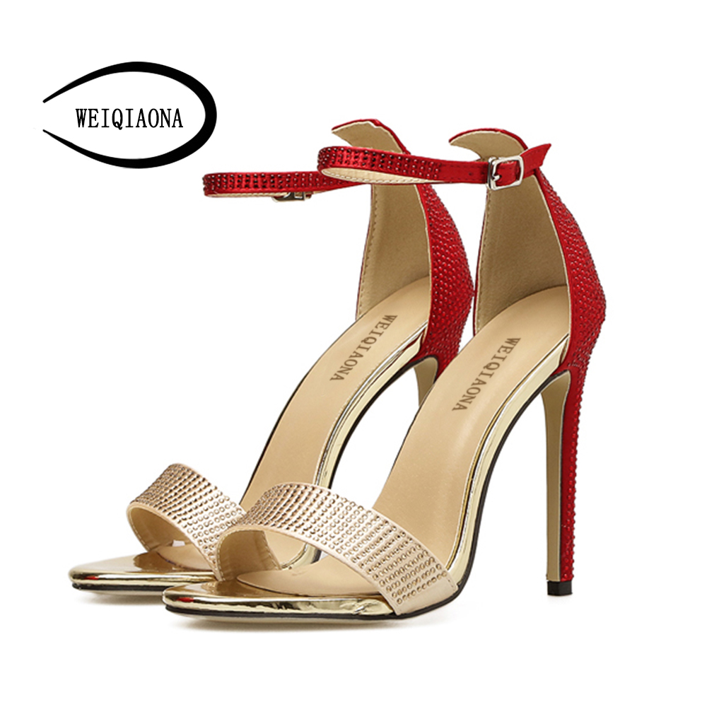 WEIQIAONA 2018 New Fashion Casual Summer Womens Open Toe High Heels Crystal Sandal dress shoes party shoes wedding shose