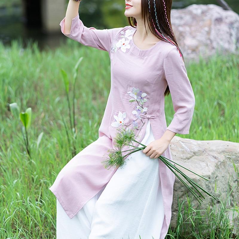 O cou trois quarts broderie robe d'été femme Vintage cheongsam hauts robe ourlet fourche robes femmes vêtements-in Robes from Mode Femme et Accessoires on AliExpress - 11.11_Double 11_Singles' Day 1