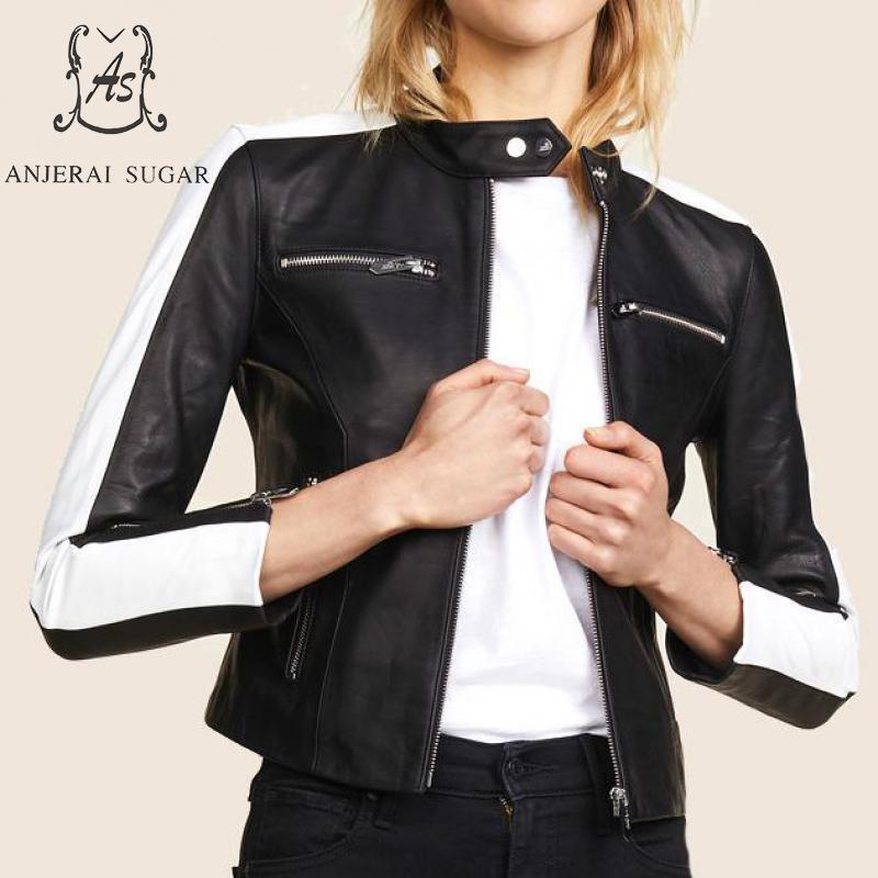 Spring new Sheepskin Genuine Leather jacket women motorcycle Black white splicing zipper mandarin collar OL female short coat leather jacket