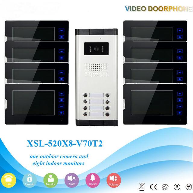 "YobangSecurity 1-Camera 8-Monitor 7"" Video Door Phone Video Intercom Home Doorbell System Night Vision 2-way Access Control"