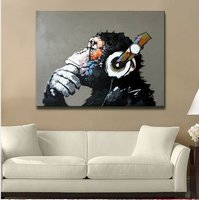 Modern Gorilla Monkey Music Oil Painting Wall Painting Canvas Painting Home Decor Oil On Canvas 33x33