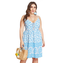 Summer Big Size Dresses for Women Super Casual Floral Bohemian Strap Dress Ladies Oversized Plump Girl Elegant