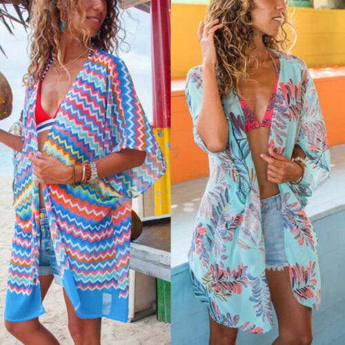 2019 Summer Floral Sexy Women Chiffon Kimono Beach Bathing Cardigan Bikini Cover Up Brazilian Beachwear Dress